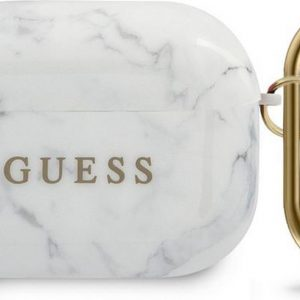 Guess Marble Case voor Apple Airpods Pro - Wit