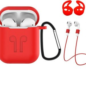 Hoes voor Apple AirPods 2 Hoesje Case 3-in-1 Siliconen Cover - Rood