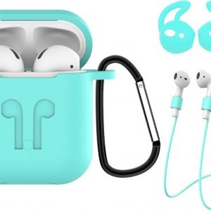 Hoes voor Apple AirPods Hoesje Case 3-in-1 Siliconen Cover - Turquoise