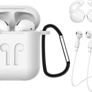 Hoes voor Apple AirPods Hoesje Case 3-in-1 Siliconen Cover - Wit