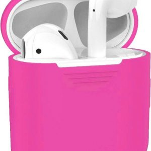 Hoes voor Apple AirPods Hoesje Siliconen Case Cover - Donker Roze