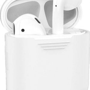 Hoes voor Apple AirPods Hoesje Siliconen Case Cover - Wit