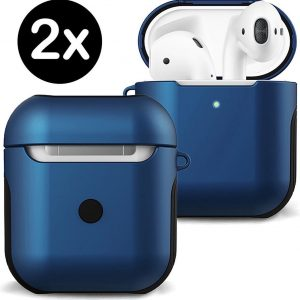 Hoesje Voor Apple AirPods 2 Case Hard Cover - Donker Blauw - 2 PACK