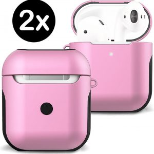 Hoesje Voor Apple AirPods 2 Case Hoes Hard Cover - Licht Roze - 2 PACK