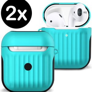 Hoesje Voor Apple AirPods 2 Case Hoes Hard Cover Ribbels - Mint Groen - 2 PACK