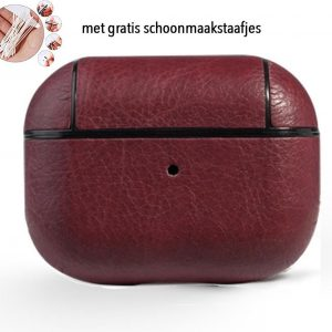 Leren hoesje rood AirPods pro - AirPods pro cover case hoesje - AirPods hoesje leer - AirPods case
