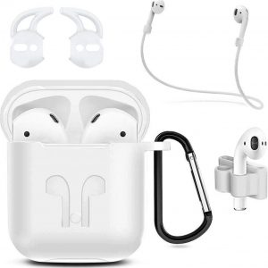 MMOBIEL Siliconen Case Compatibel met AirPods 1/2 (Wit) 6 in 1 Set