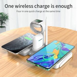 Oplaadstation - 4 in 1 Docking Station - Wit - Snelle Draadloze Oplader iPhone / iWatch / AirPods - Fast Charger - Wireless