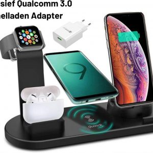 Quindi® Carico Veloce Qi Oplaadstation - Oplaaddock - 4-in-1 Draadloos Oplaadstation - Lader Apple Watch - iPhone - Airpods - Android Samsung - Qi Charger Dock