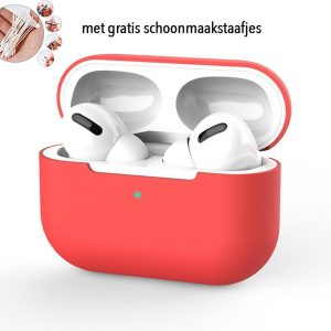 Siliconen Case Apple AirPods Pro rood- AirPods hoesje rood - AirPods case - gratis schoonmaakstaafjes